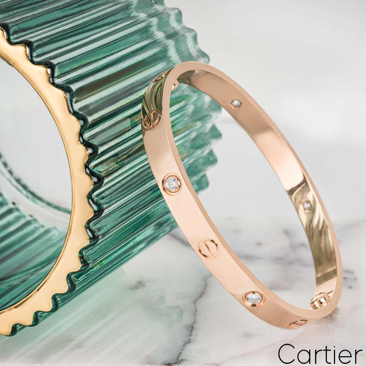Cartier Rose Gold Half Diamond Love Bracelet Size 18 B6036018